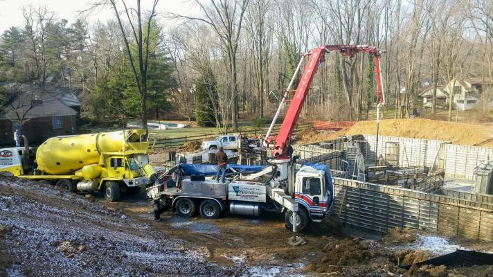 Concrete pumping truck pouring basement walls