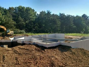 Poured concrete basement walls at a new house