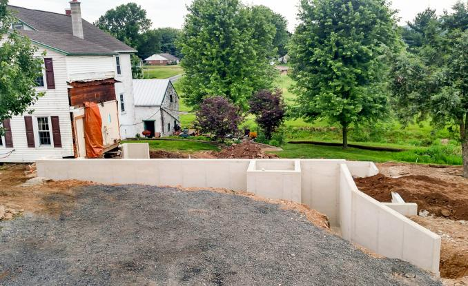New concrete walls for house addition